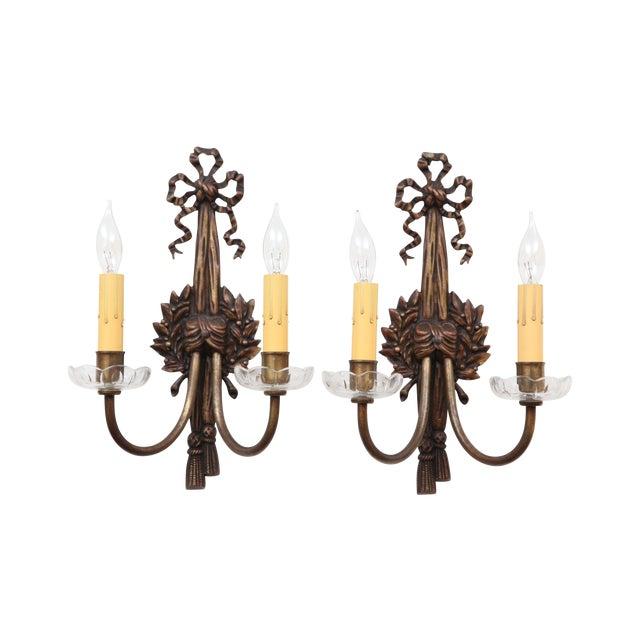 French Bronze Art Nouveau Sconces - A Pair - Image 1 of 8