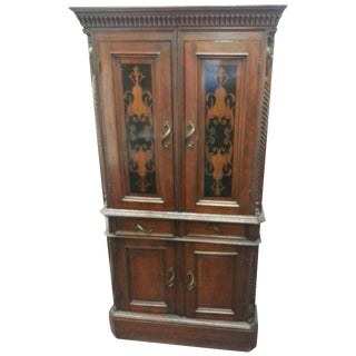 Antique Gothic Carved & Marquetry Door Bookcase