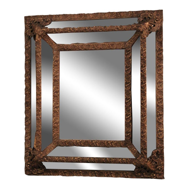 1870 Antique Italian Repousse Brass Mirror - Image 1 of 7