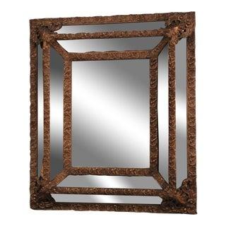 1870 Antique Italian Repousse Brass Mirror