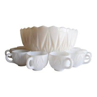 Mid-Century Milk Glass Punch Bowl & Glasses