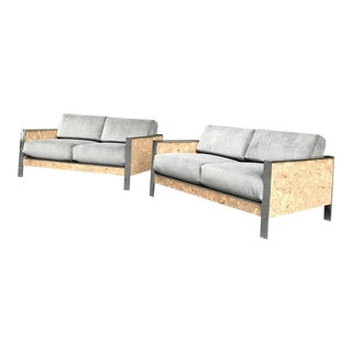 Chrome & Cork Sofas by Paul Evans - A Pair
