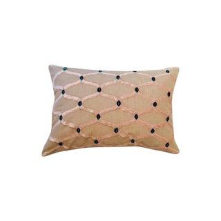 Linen Velvet Appliqué Pillow Cover