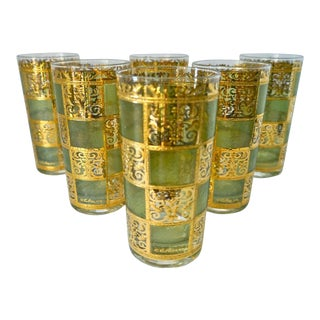 1960's Culver Green and Gold Glasses - Set of 6