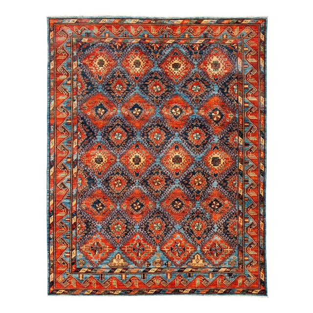 "New Tribal Traditional Hand Knotted Area Rug - 8'1"" x 10'3"" - Image 1 of 3"