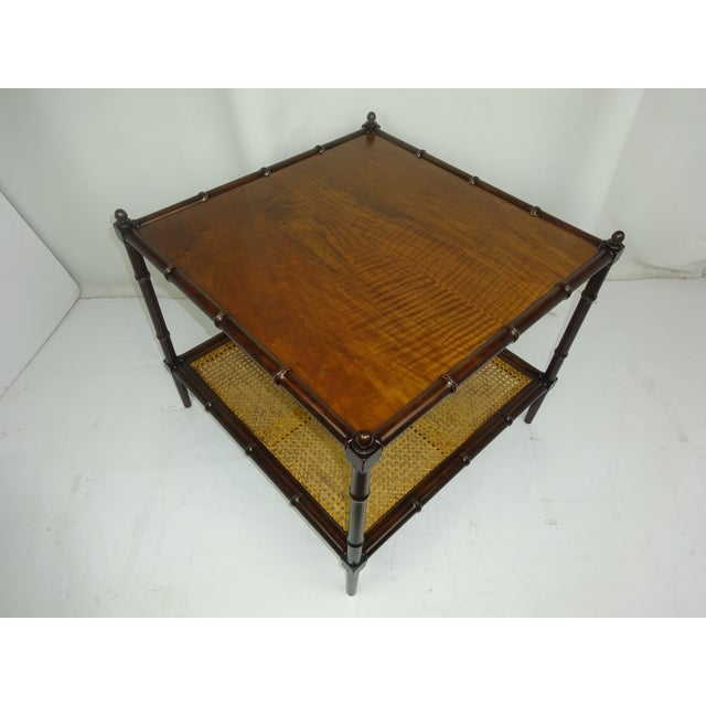Image of Baker Faux Bamboo Tables w/ Cane and Maple - Pair