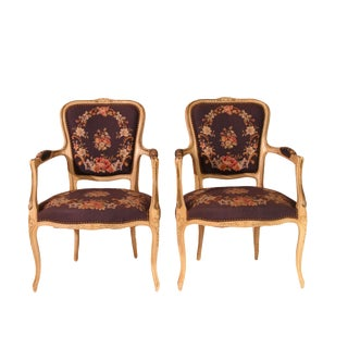 Antique French Louis XV Needlepoint Chairs - A Pair