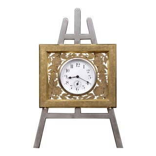 Antique English Gilded & Silver Plated Easel Clock, Circa 1880