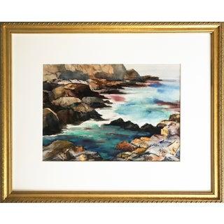 "Vintage Watercolor Seascape ""View From Castle Rock"""