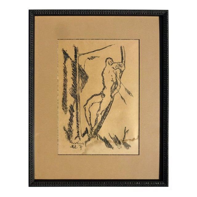 "1917 Hugo Kunz ""St. Sebastian"" lithograph - Image 1 of 3"