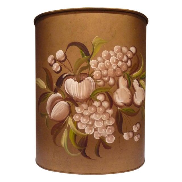 Vintage Janis Pilgrim Tole-Painted Wastebasket - Image 1 of 5