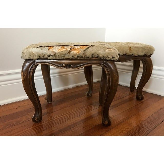 Fur-Topped Distressed Antique Footstools - A Pair - Image 5 of 7