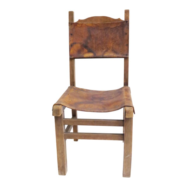 Rustic Wood & Leather Mission Style Chair - Image 1 of 6