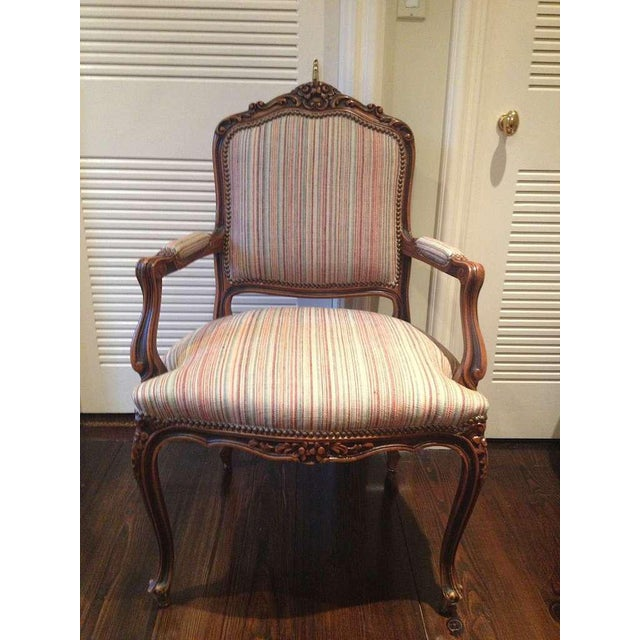 Pair of French Walnut Upholstered Armchairs - Image 5 of 11