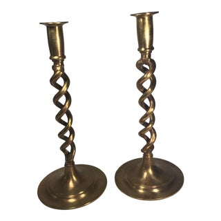 Brass Barley Twist Candlesticks - A Pair