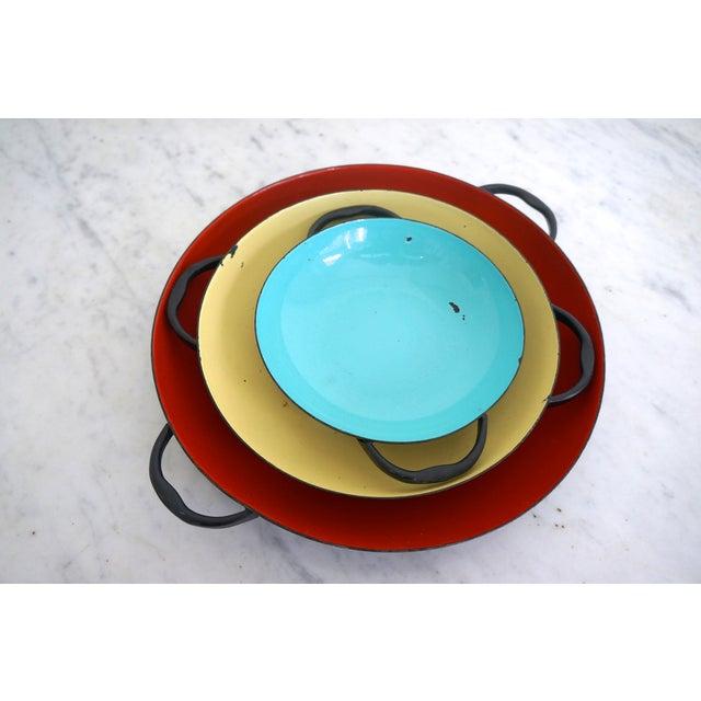 Image of Colorful Enamel Tray Bowls - Set of 3