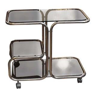 1970s Mid-Century Brass & Glass Bar Cart