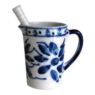 Vintage Brazilian Porcelain Drinks Pitcher & Cocktail Muddler - A Pair
