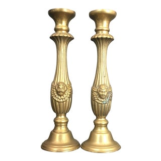 Vintage Brass Candle Holders- A Pair