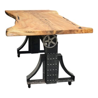 Crank Table Live Edge Slab Table