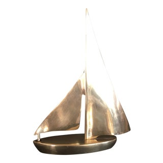 Mid-Century Solid Brass Sailboat