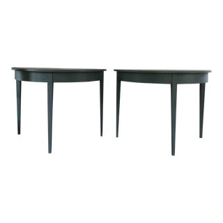 Faux Finished Demilune Tables - a Pair