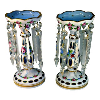 White Cut-To-Blue Czech Bohemian Glass Lusters - A Pair