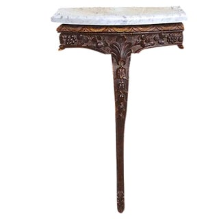 Antique Wood & Marble Console Table