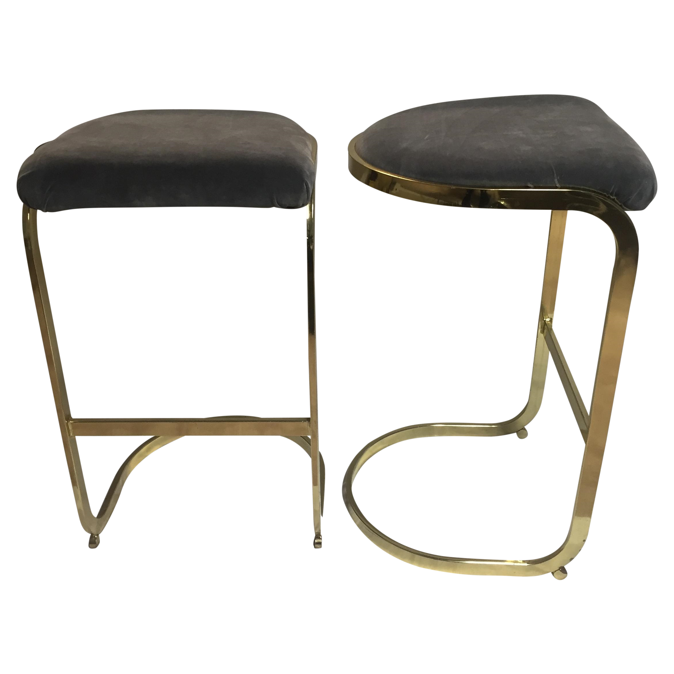 Vintage Brass amp Gray Velvet Bar Stools A Pair Chairish : e8402743 3ce8 466a 870d 82028cb5c802aspectfitampwidth640ampheight640 from www.chairish.com size 640 x 640 jpeg 28kB