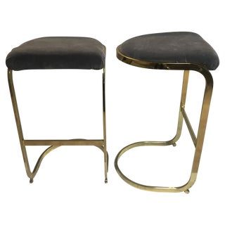 Vintage Brass & Gray Velvet Bar Stools - A Pair