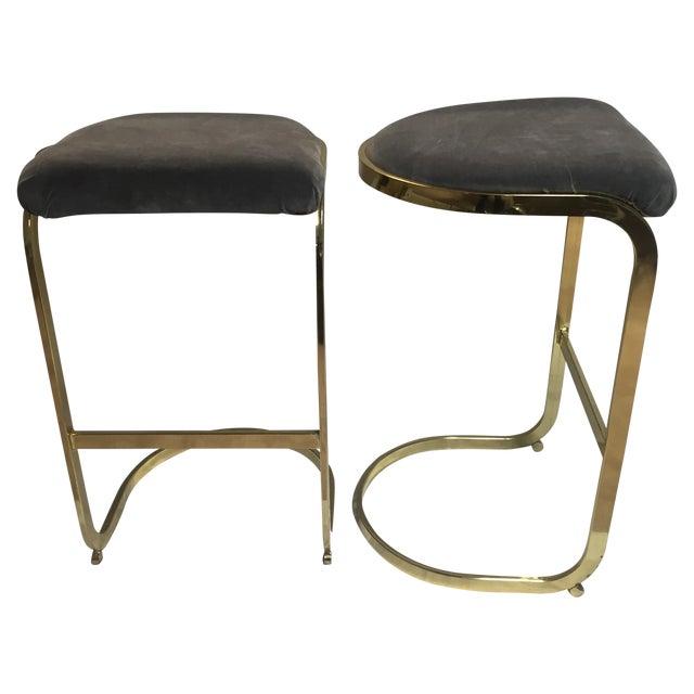 Image of Vintage Brass & Gray Velvet Bar Stools - A Pair