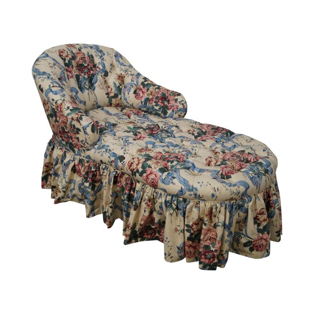 Image of KayLyn Inc. Floral Upholstered Tufted Chaise Lounge