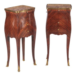 Pair of Louis XV Style Rosewood and Marble Top Side Cabinets, 1900s