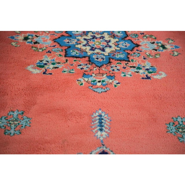 "Vintage Red & Blue Moroccan Rug - 6'8"" X 9'6"" - Image 4 of 9"