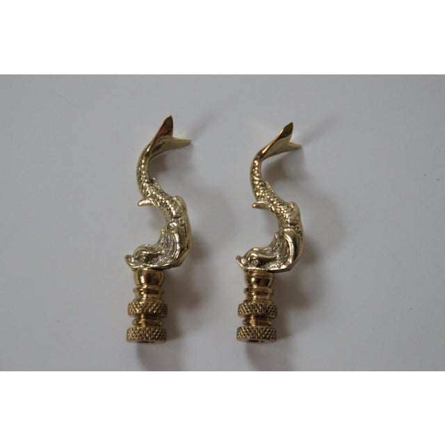 Brass Asian Dolphin Finials - Pair - Image 3 of 3