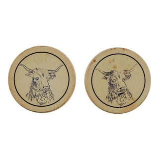 Antique Clay Poker Chips Longhorn Steer - Set of 2