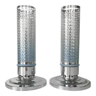 1920s French Chrome & Glass Bullet Table Lamp - A Pair