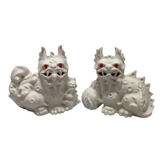 1960s White Porcelain Foo Dogs - A Pair