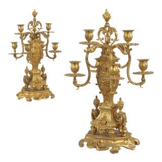 French Louis XV Style Gilt Bronze Candelabra- A Pair, Circa 1880