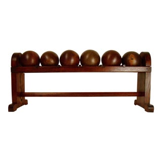 Lignum Vitae Antique Bowling Balls in Rack - Set of 6