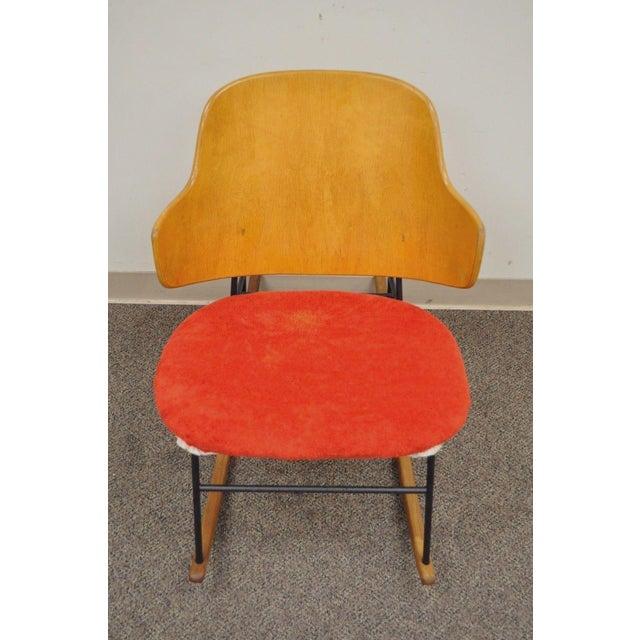 Vintage Mid Century Danish Modern Lb Kofod Larsen Penguin Rocking Chair Rocker - Image 5 of 11