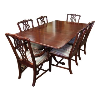 Chippendale Style Cherry Wood Dining Set - Set of 7
