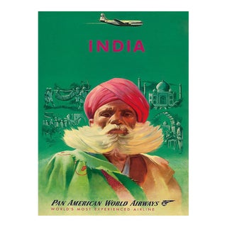Matted and Framed Vintage Pan American India Travel Poster