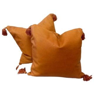 Vintage Large Genuine Leather Pillows -Pair