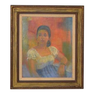 """Vintage Oil Portrait """"Maria - San Salvador"""" by Teresa Allen c.1971"""