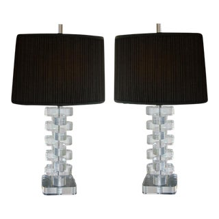 Pair of Mid-Century Lucite Lamps with Custom Shades and Lucite Finials