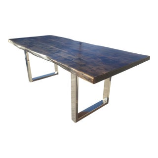 Custom Hand Crafted Stained Ash Black Acacia Wood Live Edge Table