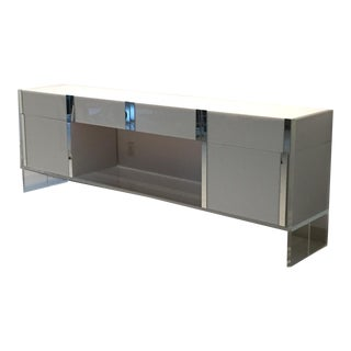 White & Clear Acrylic Mirrored Credenza