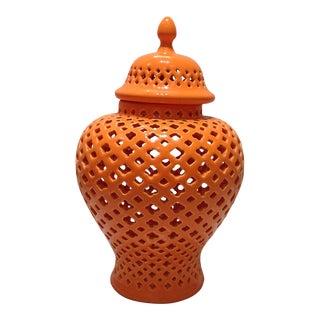Bright Orange Pierced Ginger Jar