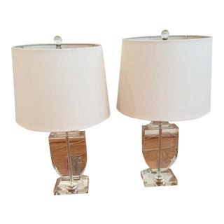 Crystal Urn Glass Table Lamps - A Pair